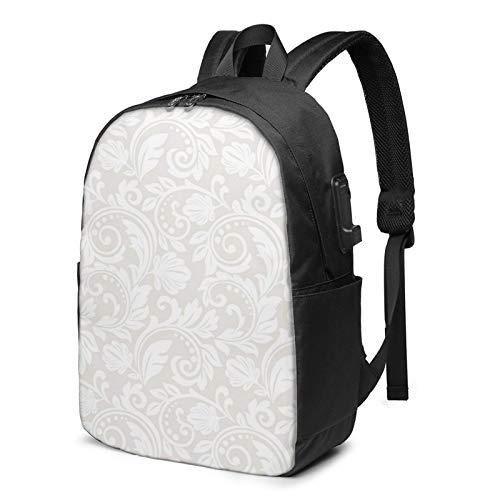 WEQDUJG Mochila Portatil 17 Pulgadas Mochila Hombre Mujer con Puerto USB, Pintura Floral Flor Mochila para El Laptop para Ordenador del Trabajo Viaje