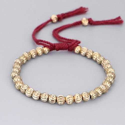 Buddha brass bead bracelet,Tibetan copper beads Buddha meditation lucky bracelet, suitable for men and women wrist jewelry (Red)