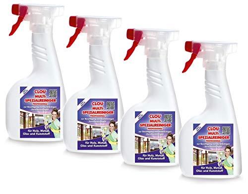 Clou Multi-Spezialreiniger Professional, 4er Pack: gegen hartnäckige Verschmutzungen auf Holz, Metall, Glas und Kunststoff, Reiniger für Haushalt und Renovierung – geeignet für Möbel, Fenster, Türen