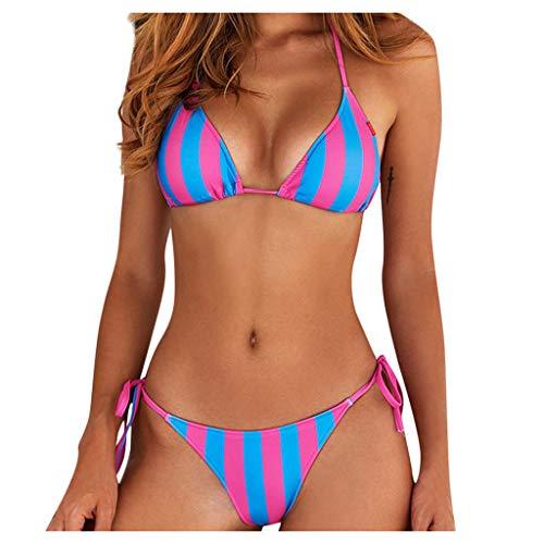 Frauen Bikini Set Zweiteilige Badebekleidung mit hoher Taille Strandabnutzung Bottoms Push Up Badeanzug Top Shorts Neckholder Set Slips Bottoms Tankini Bandeau