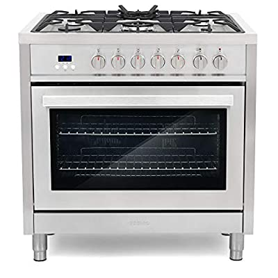 Cosmo F965 36 in. Dual Fuel Gas Range with 5 Sealed Burners, Convection Oven with 3.8 cu. ft. Capacity, 8 Functions, Black Porcelain Interior in Stainless Steel