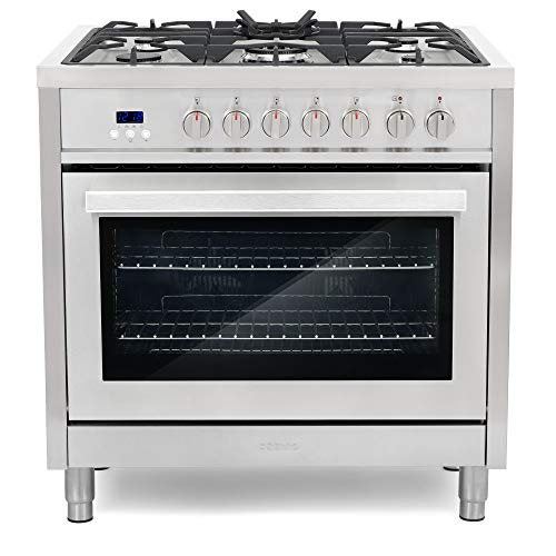 Cosmo F965 36 in. Dual Fuel Range with 5 Gas Burners, Electric Convection Oven with 3.8 cu. ft. Capacity, 8 Functions, Black Porcelain Interior in Stainless Steel