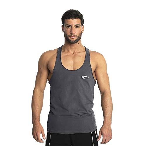 Herren Stringer Dean | Muskelshirt mit Aufdruck für Sport Gym Fitness & Bodybuilding | Muscle Shirt | Tank Top | Unterhemd | Achselshirt | Trainingshirt Kurzarm, Farbe:Anthrazit, Größe:XXXXL