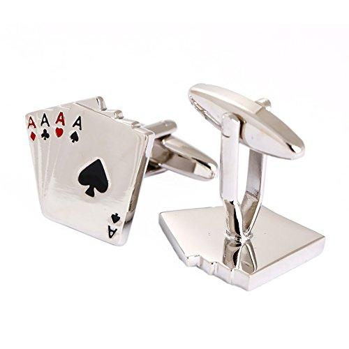 Boutons de manchette en forme de cartes de poker pour homme argent poli
