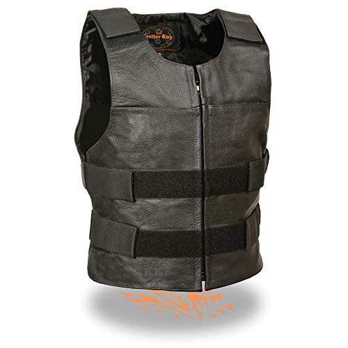 Milwaukee Leather SH1367Z Men's Black 'Replica Bullet Proof Style'Leather Zipper Vest - 44