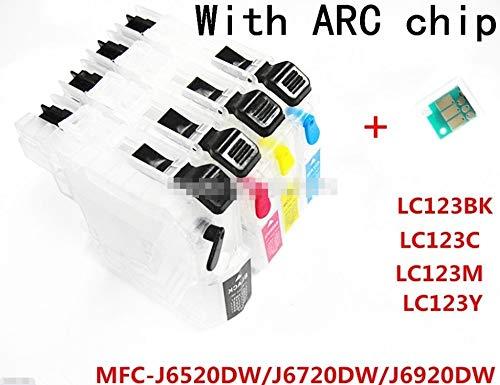 CHENTAOCS 4 Tinta LC123 BK C M Y Cartucho de Tinta Recargable for impresoras Brother MFC-J6520DW / MFC-J6720DW / MFC-J6920DW con la viruta Permanente