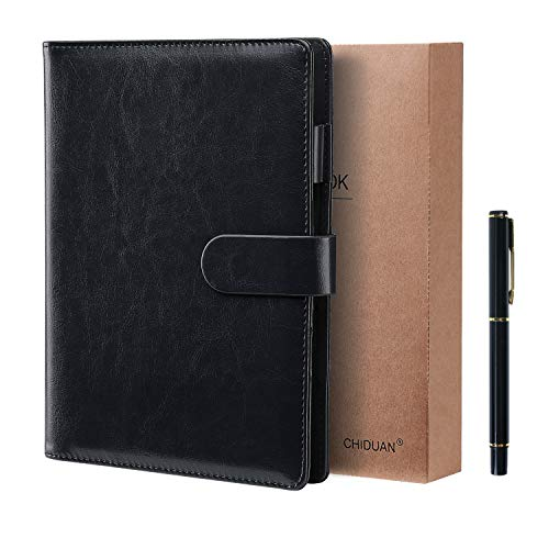 Chiduan nachfüllbares Business-Notizbuch, liniert, klassisch, mit Tasche und Stifthalter, 100 Blatt Papier 100 g/m² (A5, schwarz)