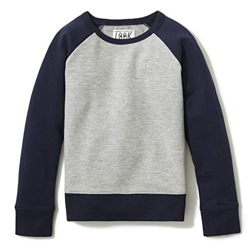 LOOK by crewcuts Crewneck Raglan Fashion-Sweatshirts, Grau meliert, US XXL (14) (EU 158 cm)