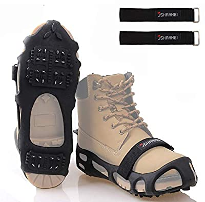 JSHANMEI Ice Cleats Ice-Grips Traction Cleats Snow Grippers Over Shoes/Boots Anti Slip Spikes Crampons Slip-on Stretch Footwear Walk Traction Cleats for Snow Ice