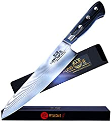 ★ SIMPLY LET KUMA KNIFE BLADES DO THE WORK FOR YOU: While many chefs knives appear to be strong and durable, their thin, inferior blades bend and break easily under pressure. Our 8 inch chef Knife is made of 67 layers of premium Japanese Damascus Ste...