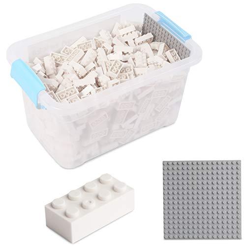 Bausteine - 520 Stück, Kompatibel zu Allen Anderen Herstellern - Inklusive Box und Grundplatte, Weiß