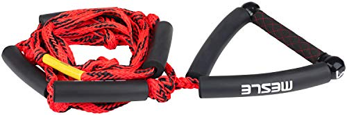 MESLE Wakesurf-Leine SKA 23\', Länge 7 m, 3 Sektionen, kürzbar, runder synthetischer PU Leder Griff, 10\' breite Hantel, 4 Schlauchschwimmer, mehrer Knoten eingearbeitet, rot schwarz, 34911