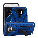 BestST Funda Samsung Galaxy S7edge Azul+Pantalla de Cine,Híbrida Doble Capa Rugged Armor Case Choque Absorción Protección Dual Layer Bumper Carcasa con Pata de Cabra para Galaxy S7edge,
