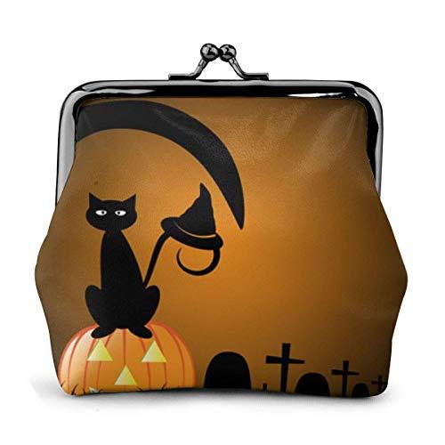 Halloween Graveyard Black Cat Witch en Calabaza PU Cuero...