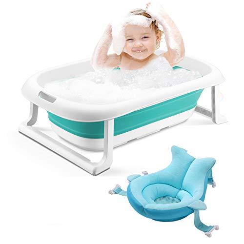 3-en-1 Bañera para bebés Bañera plegable portátil para niños pequeños Lavabo de ducha infantil plegable Antideslizante Prueba de deslizamiento (bañera verde + cojín)