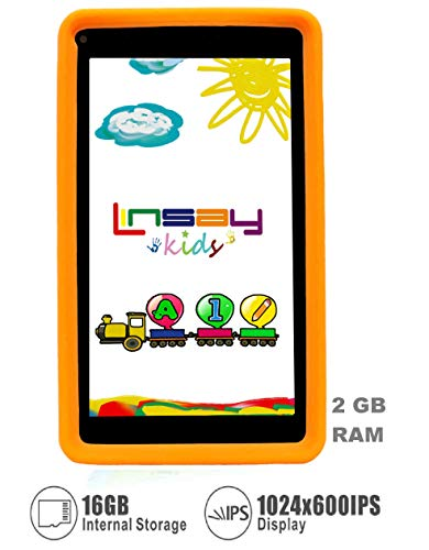 LINSAY Kids Orange Tablet PC Newest Android 9.0 WiFi Kid-Proof Quad Core 2GB + 16GB of Internal Storage up to 256 GB External SD Card. Learning Device, Millions of Apps- Dual Camera Google Certified