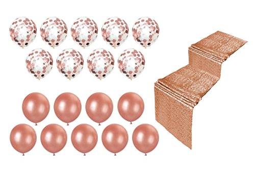 Real Color Rose Gold Balloons and Confetti Balloons Set - 18 Pieces 18-inch Balloons - Birthdays, Engagements, Bridal Showers, Bachelorette Parties, Weddings, Gender Reveal, Sweet 16, Dances