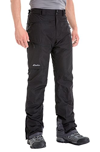 Clothin Men's Insulated Ski Pant Fleece-Lined Waterproof Snow Pants Black L(Regular Fit)