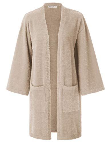 Women's Fuzzy Fleece Long Cardigan Coat Faux Fur Warm Winter Outwear Apricot L