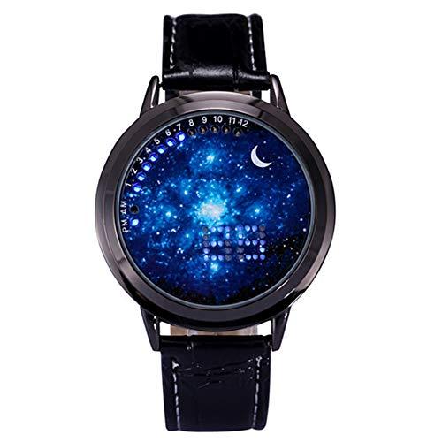 Deanyi Armbanduhr Herren Jungen Armbanduhr Herren Jungen LED Screen Uhr einzigartige kühle Uhr Universum Milchstraße Muster Einfachen LED Quarz Uhr mit weicher Lederband Knopfzelle Blau Dial Schwarz