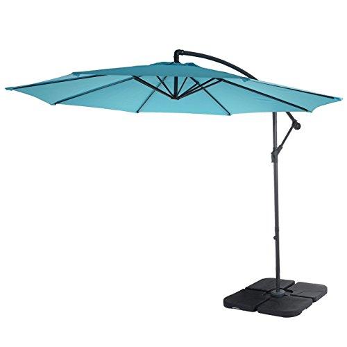 Mendler Ampelschirm Acerra, Sonnenschirm Sonnenschutz, Ø 3m neigbar, Polyester/Stahl 11kg ~ türkis-blau mit Ständer