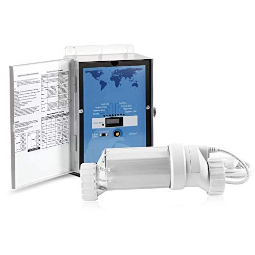 BLUE WORKS Pool Chlorine Generator Chlorinator BLH30 | for 25k Gallon Pool | with Flow Switch and Salt Cell (Clear)