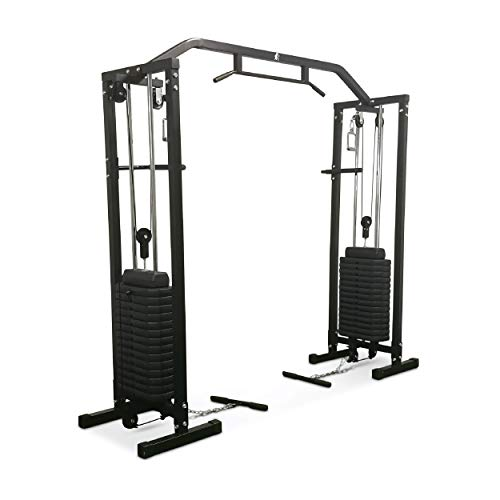 FIT4HOME Multi Gym Exercise Equipment For Home Use Heavy Duty Multifunctional Workout Station | 200kg Weight Plates Body Strength Weight Training Fitness | TF-1007 Black