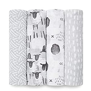 aden + anais Essentials Swaddle Blanket, Muslin Blankets for Girls & Boys, Baby Receiving Swaddles, Newborn Gifts, Infant Shower Items, Toddler Gift, Wearable Swaddling Set, 4 Pack, Pasture