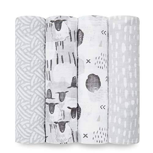 Aden by aden + anais Swaddle Blanket, Muslin Blankets for Girls & Boys, Baby Receiving Swaddles, Ideal Newborn Gifts, Unisex Infant Shower Items, Toddler Gift, Wearable Swaddling Set, 4 Pk,Pasture