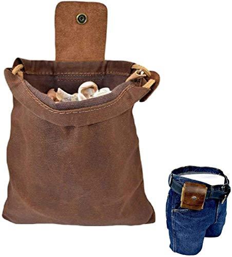 WENLIANG Bushcraft Tasche Aus Leder Und Segeltuch, Zusammenklappbare Hochleistungs-Futtersuche-Tasche Aus Segeltuch Mit Lederbezug Und Schnalle Zum Wandern Dunkelbraun