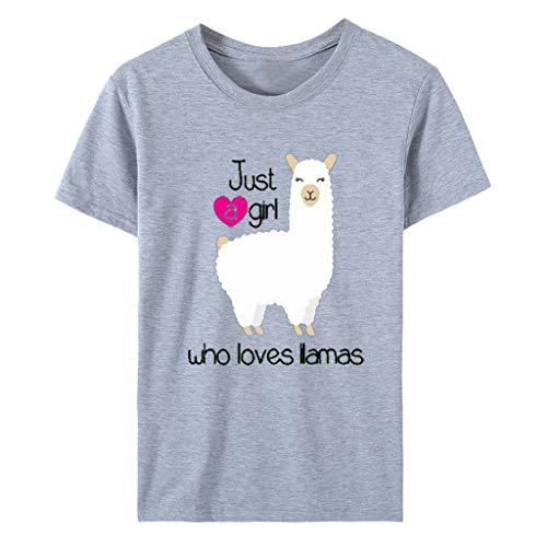 Auifor vrouwen zomer slechts één meisjesbrief Lamas bedrukt bovendeel, casual losse korte mouwen T-shirt tuniekblouse