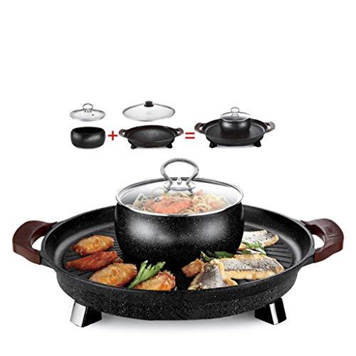 DIAOD Multifunctional Circular Electric Baking Pan Barbecue Stove Hot Pot Barbecue Integrated Pan Frying Pan Pancake Pan Grilled Fish Paper Wrapped Fish