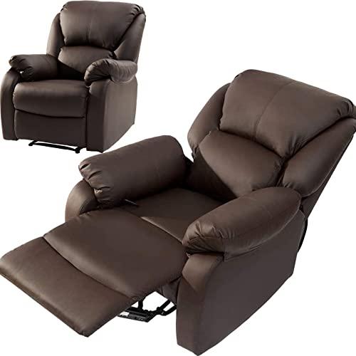 SUNWEII Sillón Relax Sillón TV Sillón, sofá de Cuero Artificial Inclinable 150kg Recargable, con reposapiernas Regulable Sillón reclinable Sofá Individual para salón,#Brown-1PC