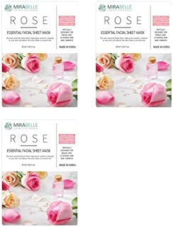 MIRABELLE COSMETICS KOREA Fairness Facial Mask ROSE PACK OF 3 MADE IN KOREA SUITABLE FOR ALL SKIN TYPE