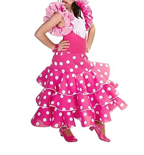 AMINA Vestido de niña para la danza flamenco o sevillanas (Fucsia topo blanco, 4/5 años)