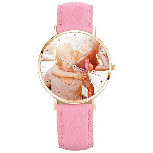 SOUFEEL Relojes con Foto Personalizado, Relojes con Nombre Personalizado Clásico Y Moda Regalo para Novio y Novia-Oro Rosa