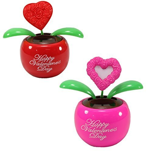 Lovers Gift Set of 2 ~ 1 Red Heart in Red Pot + 1 Pink Heart in Pink Pot Solar Toy Valentines Day Flowers Holiday Gift Home Decor Car Dashboard Office Desk Display US Seller