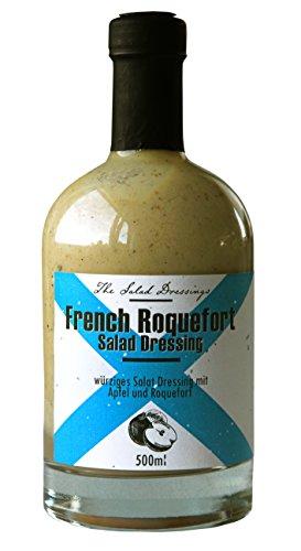 French Roquefort Dressing (500ml) – Salatdressing Für Feinschmecker – mit Blauschimmelkäse und frischem Apfelpüree – Salatdressing nach französischer Art – von Feuer & Glas