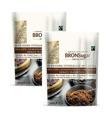 Compagnia degli Zuccheri Bronsugar Zucchero Integrale di Canna Qualità Muscovado Equosolidale Origine Mauritius Cristalli Bruni e Fini con Toni di Liquirizia - 2 x 400 Gram