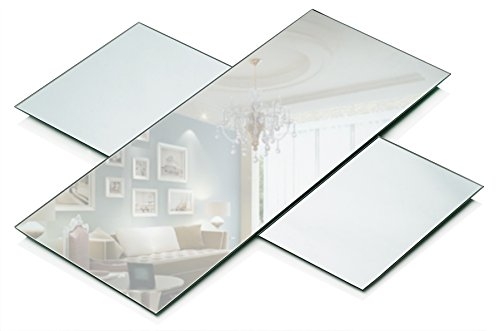 Rectangle Mirror Tray - Mirrors Glass Plates - 5 x 12 inch with 3 mm Beveled Edge - Great as Wedding and Party Table Centerpieces, Candle Plate Holder, Wall Décor. (Set of 6)