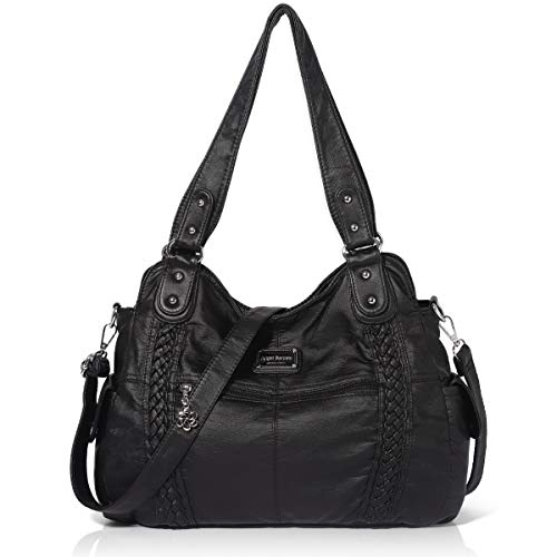 Angel Barcelo Roomy Fashion Hobo Damenhandtaschen, Damen Geldbörse, Umhängetaschen, Umhängetasche Tote, Gewaschene Ledertasche Schwarz