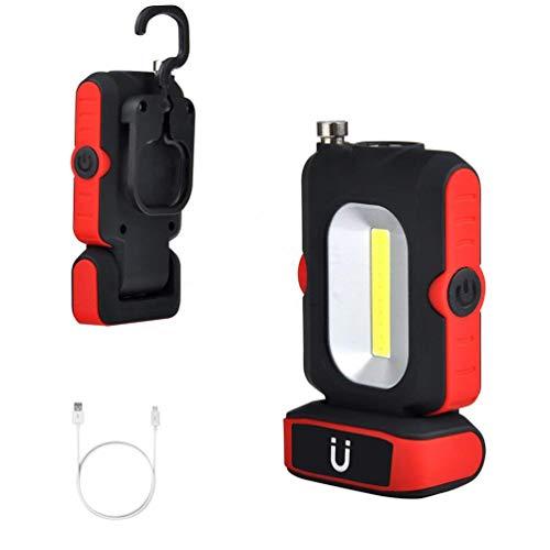 LEDGLE ワークライト 双光源 COB LED 作業灯 マグネット付き USB充電式 180°回転 3点灯モード 220ルーメン 夜間作業 旅行緊急対応 キャンプ 夜釣り アウトドア