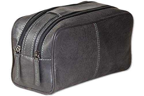 Woodland® Trousse de toilette avec 2 grandes poches zippées en cuir de buffle doux et naturel Anthracite