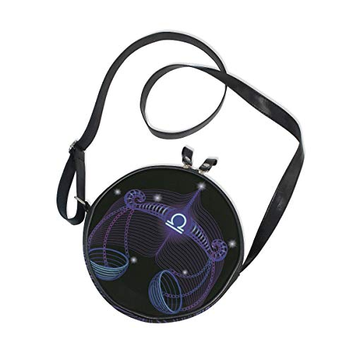 Constellation Zodiac Signs Libra Round Crossbody Bag Messenger Purse