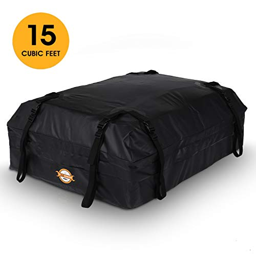 Adakiit Car Roof Bag,Rooftop Cargo Carriers,Water Resistant Soft-Shell Trave Storage Luggage,Best for Road Traveling, Universal Roof Bag for Cars, Vans, SUVs (15 Cubic Feet)