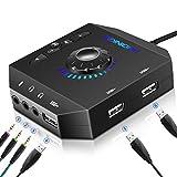 Tarjeta de Sonido Externa USB Audio Adaptador con 3.5mm Auriculares y Micrófono Control de Volumen...