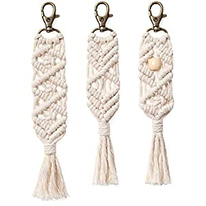 Mkono Mini Macrame Keychains Boho Macrame Bag Charms with Tassels Cute Handcrafted Accessories for Car Key Purse Phone Wallet Unique Mother,s Day Gift Party Supplies, Natural White, 3 Pack