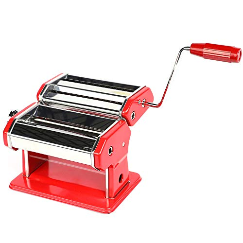 "Houseables Pasta Maker, Stainless Steel, 8""x6"", Red, w/Adjustable Dough Roller, Hand Crank, Table Clamp, Noodle Cutter & Press, Attachments for Lasagna, Linguine, Tagliatelle Making Machine, Homemade"