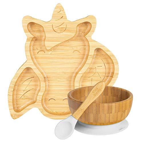 Tiny Dining infantil de bambú succión unicornio vajilla Plato, Tazón, cuchara con ventosas segmentado de diseño, respetuoso del medio ambiente - Blanco