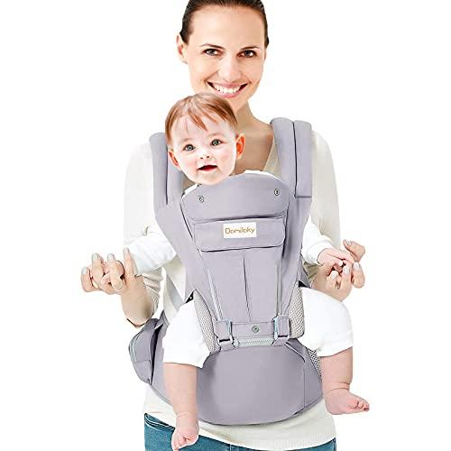 Porte bébé Ergonomique avec Siège à Hanche/Pur Coton Léger et Respirant/Multiposition:Dorsaux,Réglable pour Nouveau-né et Petit Enfant de 3 à 48 Mois